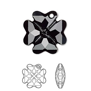 drop, swarovski crystals, jet, 23mm faceted clover pendant (6764). sold per pkg of 24.
