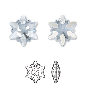 drop, swarovski crystals, partially frosted crystal blue shade, 18mm faceted edelweiss pendant (6748/g). sold per pkg of 48.