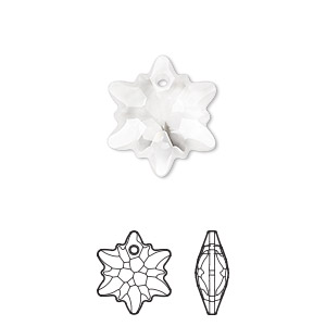 drop, swarovski crystals, partially frosted crystal clear, 18mm faceted edelweiss pendant (6748/g). sold per pkg of 48.