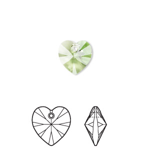 drop, swarovski crystals, peridot, 10x10mm xilion heart pendant (6228). sold per pkg of 288 (2 gross).