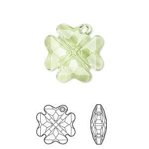 drop, swarovski crystals, peridot, 19mm faceted clover pendant (6764). sold per pkg of 48.