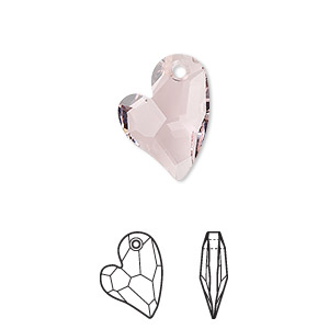 drop, swarovski crystals, rosaline, 17x13mm faceted devoted 2 u heart pendant (6261). sold per pkg of 48.