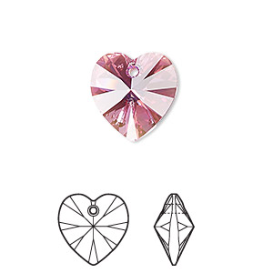 drop, swarovski crystals, rose ab, 14x14mm xilion heart pendant (6228). sold per pkg of 144 (1 gross).