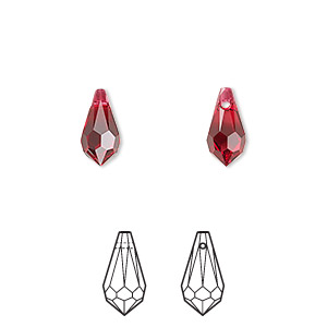 drop, swarovski crystals, scarlet, 11x5.5mm faceted teardrop pendant (6000). sold per pkg of 288 (2 gross).
