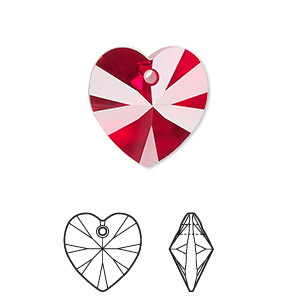 drop, swarovski crystals, siam, 18x18mm xilion heart pendant (6228). sold per pkg of 72.