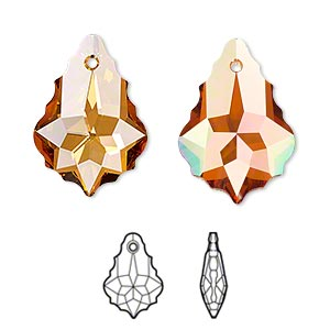 drop, swarovski crystals with third-party coating, crystal passions, crystal chili pepper, 22x15mm faceted baroque pendant (6090). sold per pkg of 12.