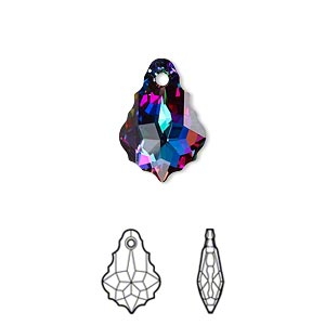 drop, swarovski crystals with third-party coating, crystal passions, crystal electra, 16x11mm faceted baroque pendant (6090). sold per pkg of 12.