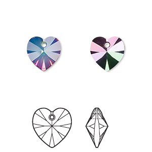 drop, swarovski crystals with third-party coating, crystal passions, white opal electra, 10mm xilion heart pendant (6228). sold per pkg of 2.