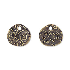 drop, tierracast, antique brass-plated pewter (tin-based alloy), 15x14mm two-sided oval with jardin design. sold per pkg of 2.