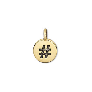 drop, tierracast, antique gold-plated pewter (tin-based alloy), 12mm single-sided flat round with textured hashtag or pound sign. sold individually.