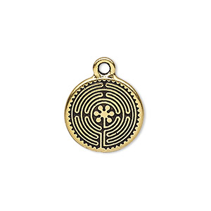 drop, tierracast, antique gold-plated pewter (tin-based alloy), 17mm double-sided flat round with labyrinth design. sold per pkg of 2.