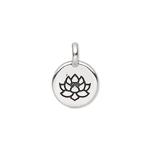 drop, tierracast, antique silver-plated pewter (tin-based alloy), 11.5mm single-sided round with lotus. sold individually.