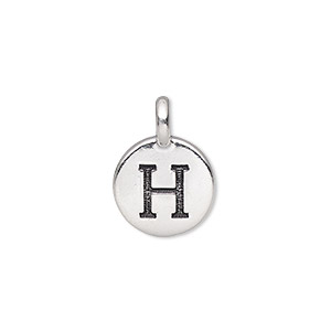 drop, tierracast, antique silver-plated pewter (tin-based alloy), 11.5mm single-sided round with textured alphabet letter h. sold individually.
