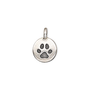 drop, tierracast, antique silver-plated pewter (tin-based alloy), 11.5mm single-sided round with paw print. sold individually.