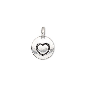 drop, tierracast, antique silver-plated pewter (tin-based alloy), 11.5mm single-sided round with textured heart. sold individually.