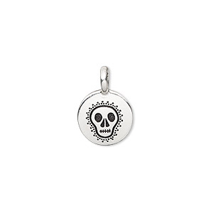 drop, tierracast, antique silver-plated pewter (tin-based alloy), 12mm single-sided flat round with fancy skull. sold individually.