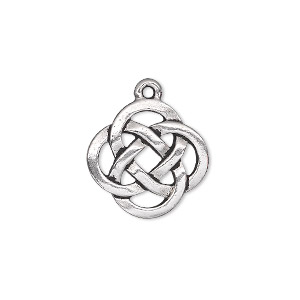drop, tierracast, antique silver-plated pewter (tin-based alloy), 17.5mm double-sided open celtic knot. sold individually.