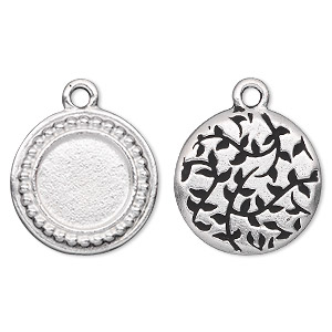 drop, tierracast, antique silver-plated pewter (tin-based alloy), 19.5mm two-sided beaded flat round with leaf design on back and 12.5mm round setting. sold individually.