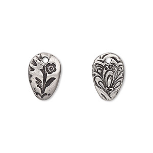 drop, tierracast, antiqued pewter (tin-based alloy), 14x9.5mm two-sided oval with flora design. sold per pkg of 2.