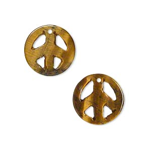drop, tigereye (natural), 15mm peace sign, b grade, mohs hardness 7. sold per pkg of 2.