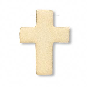 drop, vermeil, 15x11mm top-drilled matte cross. sold individually.