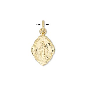 drop, vermeil, 15x12mm oval with the virgin mary. sold individually.