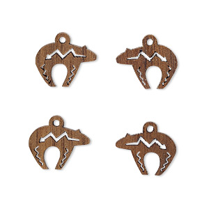 drop, wood (natural), 13x10mm single-sided left- and right-facing zuni-style bear with cutout design. sold per pkg of 4.