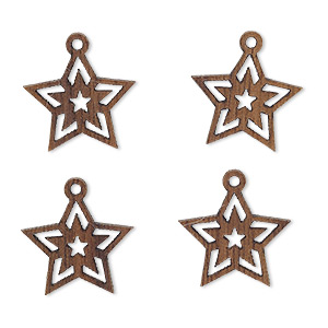 drop, wood (natural), 15x13mm single-sided star with cutout design. sold per pkg of 4.