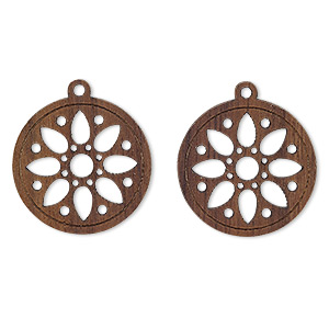drop, wood (natural), 19mm double-sided flat round with cutout flower design. sold per pkg of 2.