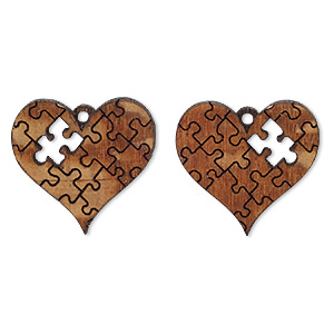 drop, wood (natural), 25x23mm single-sided left- and right-facing heart with puzzle piece cutout. sold per pkg of 2.