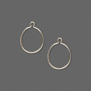 drop, wrap-tite, 14kt gold-filled, 12x10mm oval setting. sold per pkg of 2.