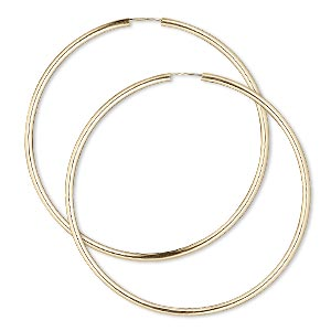 earring, 14kt gold-filled, 65-70mm round hoop with endless-loop closure. sold per pair.
