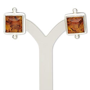 earring, amber (reconstituted) and sterling silver, 19x13mm square with post. sold per pair.