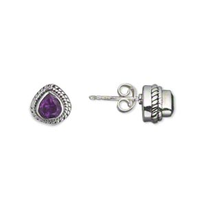 earring, amethyst (natural) and antiqued sterling silver, 8mm with 6x6mm faceted teardrop and post. sold per pair.