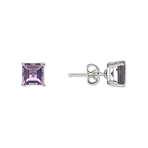 earring, amethyst (natural) and sterling silver, 7mm with 6x6mm faceted square and post. sold per pair.