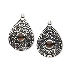 earring, antiqued sterling silver and amber (heated), 22x15mm post with filigree teardrop with 4mm round. sold per pair.