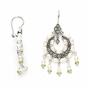 earring, antiqued sterling silver with peridot and cultured freshwater pearl, 53x25mm overall. sold per pair.
