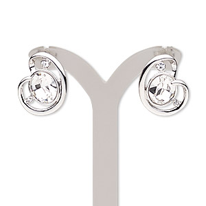 earring, austrian crystal / swarovski crystals / rhodium-plated brass / pewter (zinc-based alloy), clear and crystal clear, 19mm with post. sold per pair.