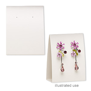 earring card, adhesive and card stock, cream, 3x2-1/4 inches assembled. sold per pkg of 10.