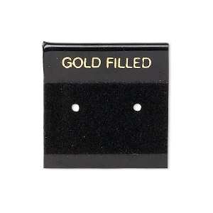 earring card, flocked plastic, black and gold, 1x1-inch square with gold filled. sold per pkg of 100.
