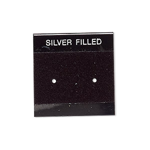 earring card, flocked plastic, black and silver, 1x1-inch square with silver filled. sold per pkg of 25.
