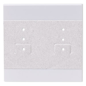 earring card, flocked plastic, grey, 2x2-inch square. sold per pkg of 100.
