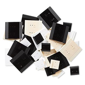 earring card mix, flocked acrylic, matte black / cream / off-white, 1x1-inch and 2x2-inch square. sold per pkg of 50.
