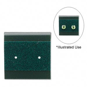 earring card, plastic and velour, green, 1x1-inch square. sold per pkg of 100.