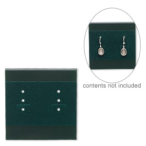 earring card, plastic and velour, green, 2x2-inch square. sold per pkg of 25.