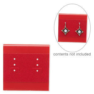 earring card, plastic and velour, red, 2x2-inch square. sold per pkg of 25.