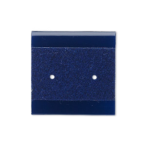 earring card, plastic and velour, royal blue, 1x1-inch square. sold per pkg of 25.