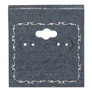 earring card, pvc plastic and paper, opaque black and silver, 2x2 inch square with scroll design. sold per pkg of 100.