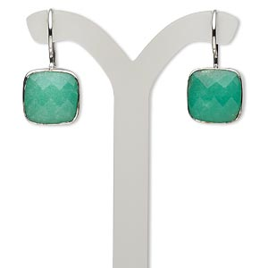 earring, chrysoprase (natural) and sterling silver, 25mm with 13x13mm faceted cushion and fishhook earwire. sold per pair.