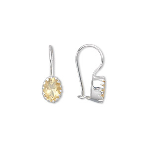 earring, citrine (heated) and sterling silver, 18x7mm with 7x6mm faceted oval and fishhook earwire with safety latch. sold per pair.